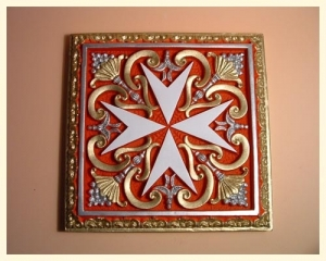 Tile Square Cross Large Coloured Red